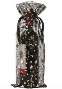 organza bottle bags black stars