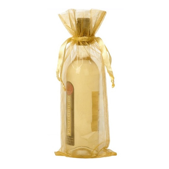 organza bottle gift bag 15x38cm gold