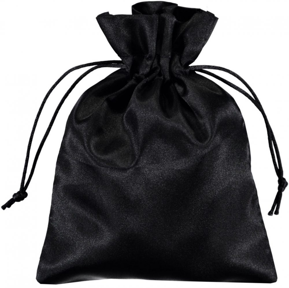 satin drawstring bags black 15x20cm