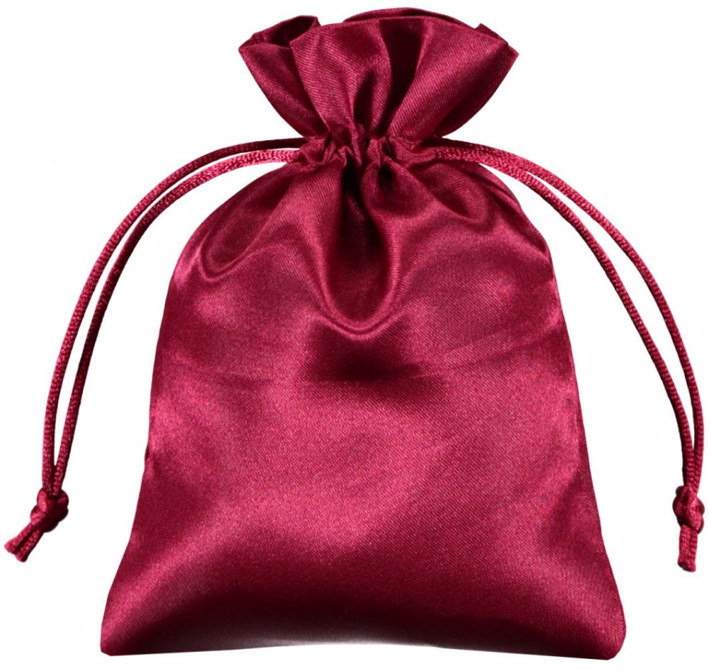 satin drawstring bags red 10x15cm
