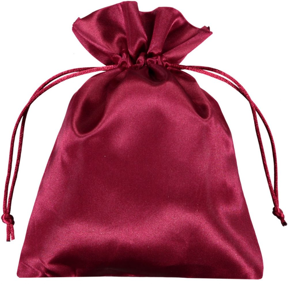 satin drawstring bags red 15x20cm