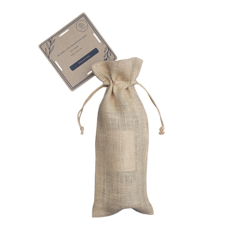 50 pieces Biodegradable Jute Bottle Bags 15x38cm