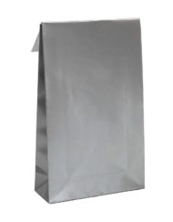 50 pcs Gift Bags Silver Adhesive Trip and Block bottom 10x15,7x4 or 14x23x5,5cm