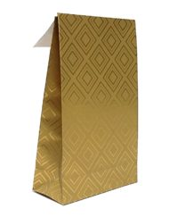 50 pcs Paper Gift Bags Golden Tiles Adhesive Trip and Block bottom 10x15,7x4 or 14x23x5,5cm