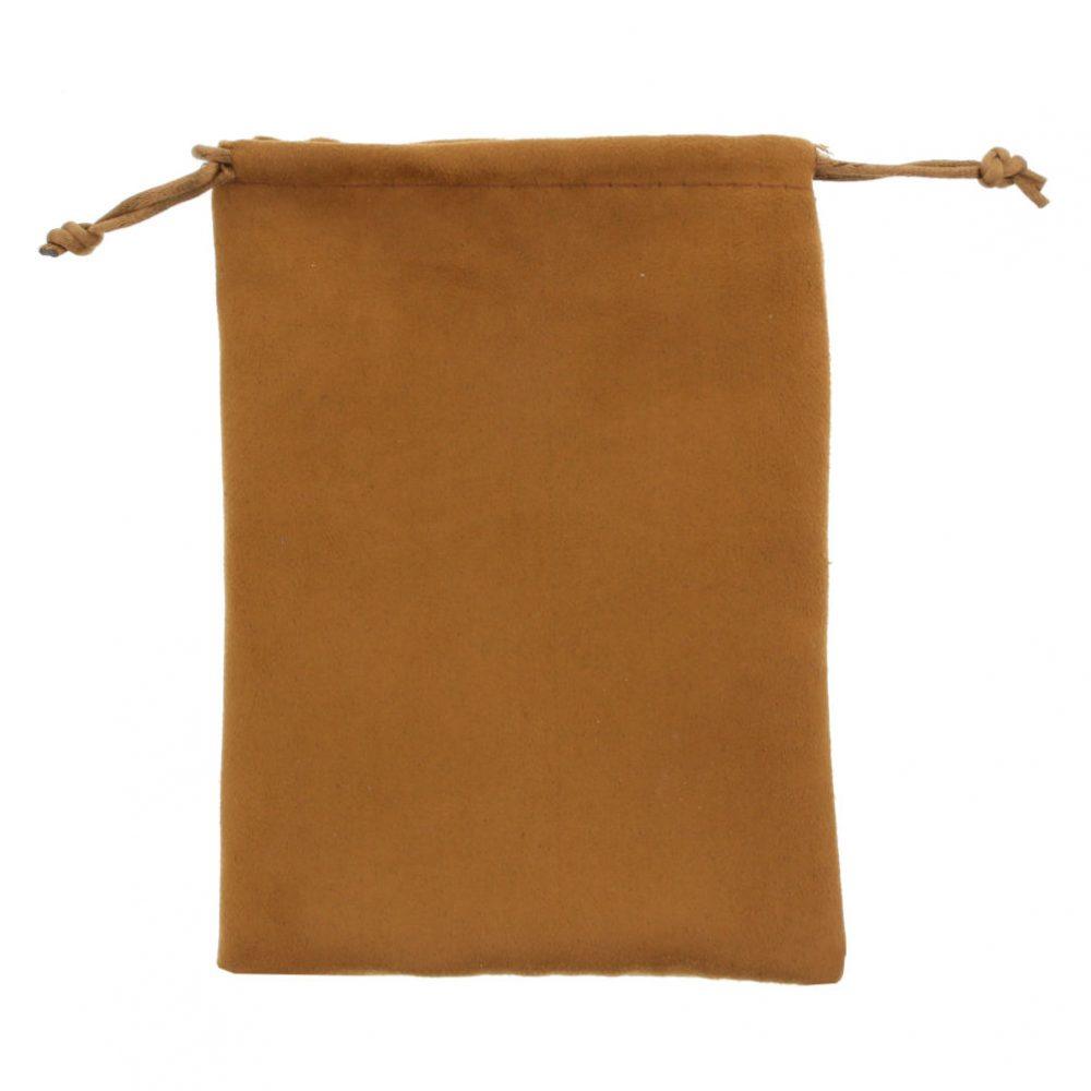 suede pouch camel brown 12x16cm