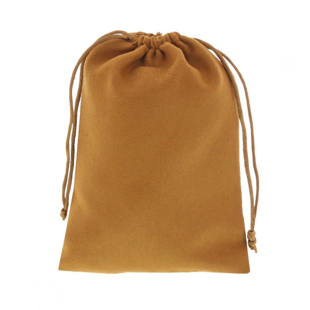 suede pouch camel brown 12x16cm 3.0