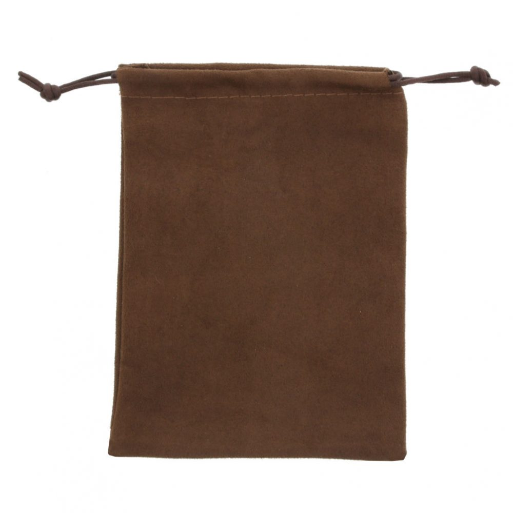 suede pouch chocolate brown 12x16cm