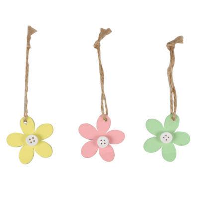 24 pieces of Wooden Flower Gift Label with rope 5x5cm Choose Your Color